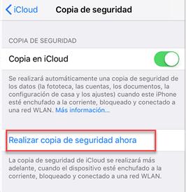 copia de seguridad automáticamente con iCloud