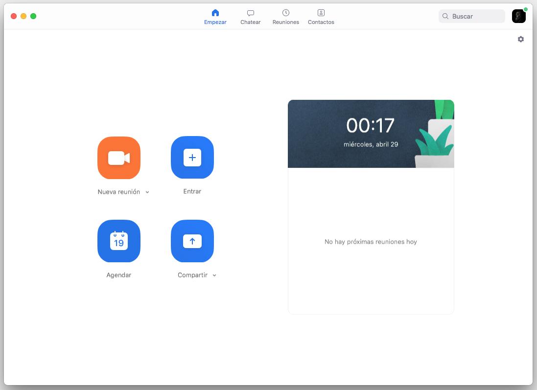 Pantalla Principal de Zoom en Mac