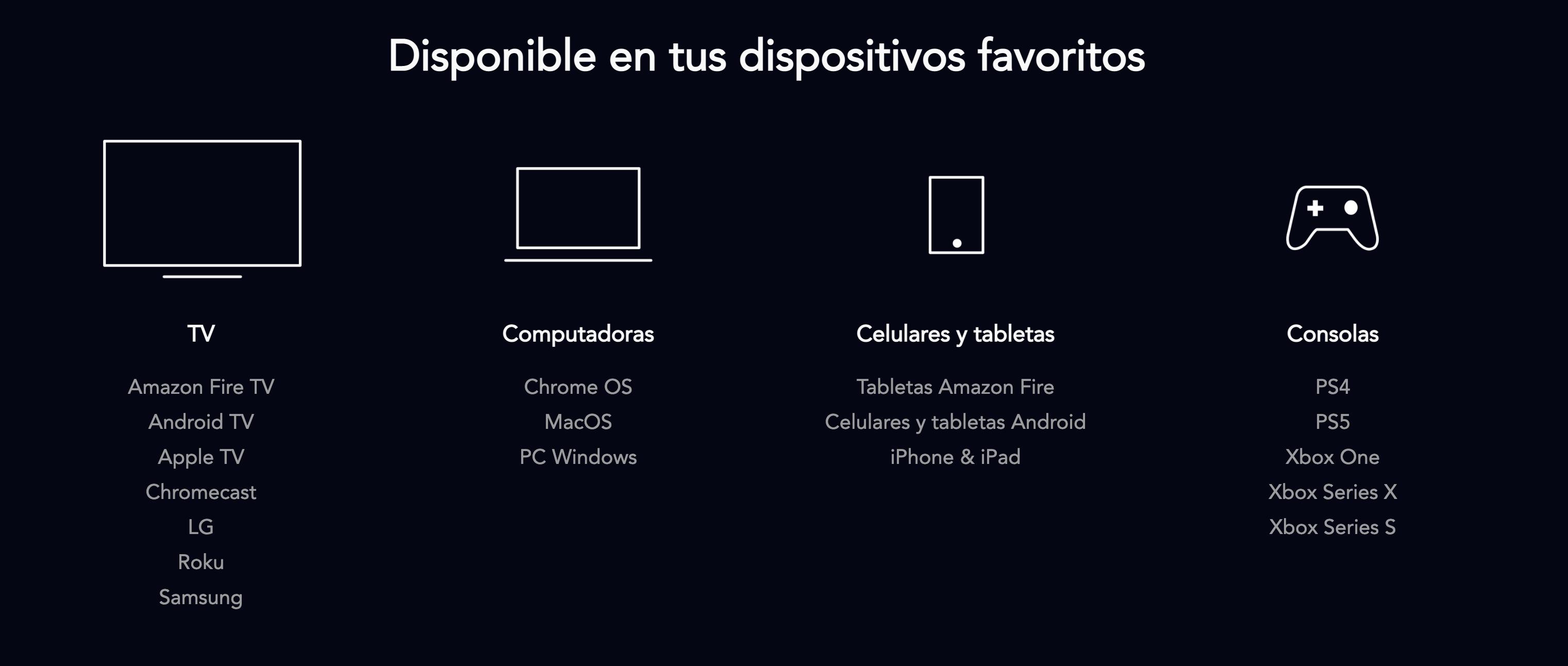 dispositivos son compatibles con Disney Plus